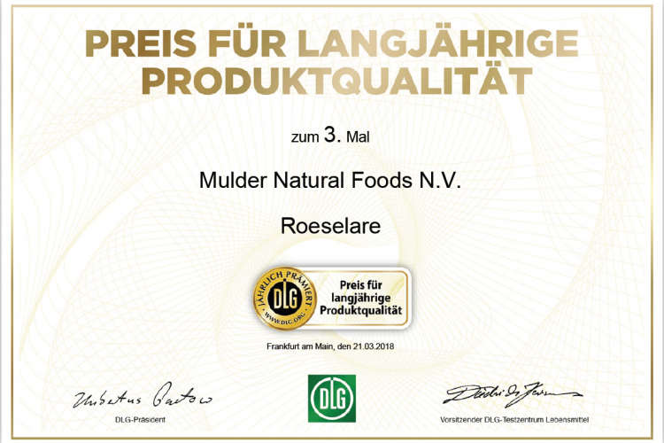 Mulder Natural Foods from Roeselare (Belgium) receives an award for long-term product quality